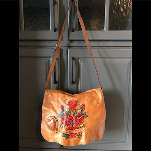 Gucci Leather Tattoo Heart Tribeca Messenger Bag